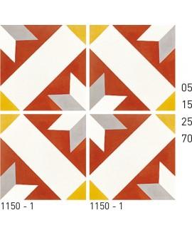 Carreau ciment véritable décor étoile 1150-1 20x20cm