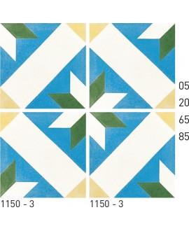 Carreau ciment véritable décor étoile 1150-3 20x20cm