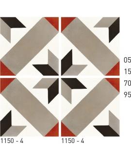 Carreau ciment véritable décor étoile 1150-4 20x20cm