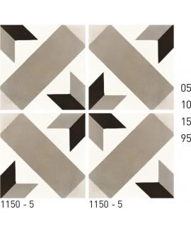 Carreau ciment véritable décor étoile 1150-5 20x20cm