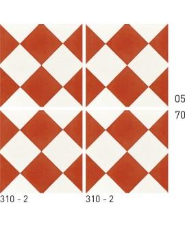 Carreau ciment véritable décor géométrique 310-2 20x20cm