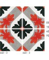Carreau ciment véritable décor fleur 640-3 20x20cm