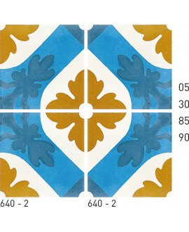 Carrelage ciment décor fleur 640-2 20x20cm
