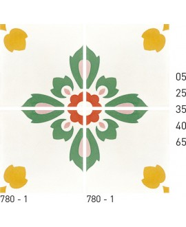Carreau ciment véritable décor fleur 780-1 20x20cm