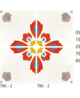 Carreau ciment véritable décor fleur 780-2 20x20cm