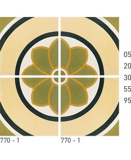 Carrelage ciment décor fleur 770-1 20x20cm