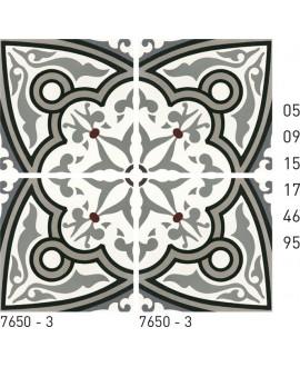 Carreau ciment véritable décor arabesque 7650-3 20x20cm