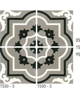 Carreau ciment véritable décor arabesque 7330-3 20x20cm