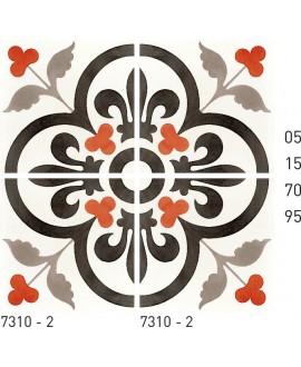 Carreau ciment véritable décor arabesque 7310-2 20x20cm