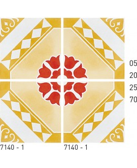Carrelage ciment décor arabesque 7140-1 20x20cm