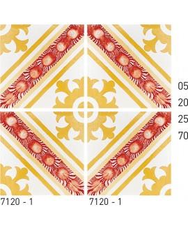 Carreau ciment véritable décor arabesque 7120-1 20x20cm