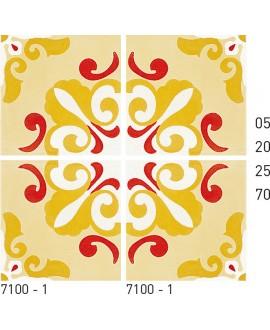 Carreau ciment véritable décor arabesque 7100-1 20x20cm