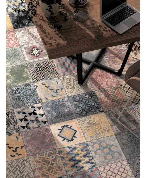Carrelage D patchwork perseo effet carreau de ciment 25x25cm