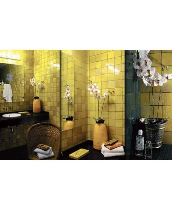Zellige crédence cuisine salle de bain carrelage en terre cuite D citron 10x10x1.1cm