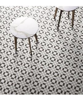 carrelage patchwork 02 black and white effet carreau ciment 20x20 cm rectifié R10