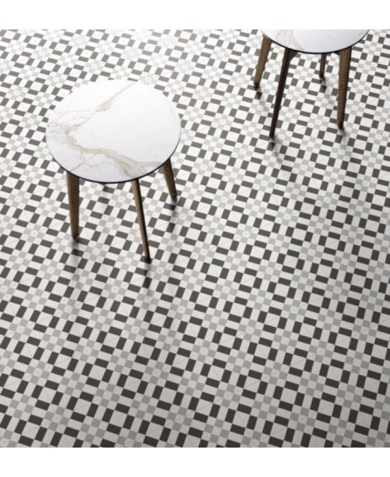 carrelage patchwork 02 black and white 20x20 cm rectifié