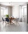 Carrelage patchwork 03 black and white imitation carreau ciment 20x20 cm rectifié dans la cuisine R10
