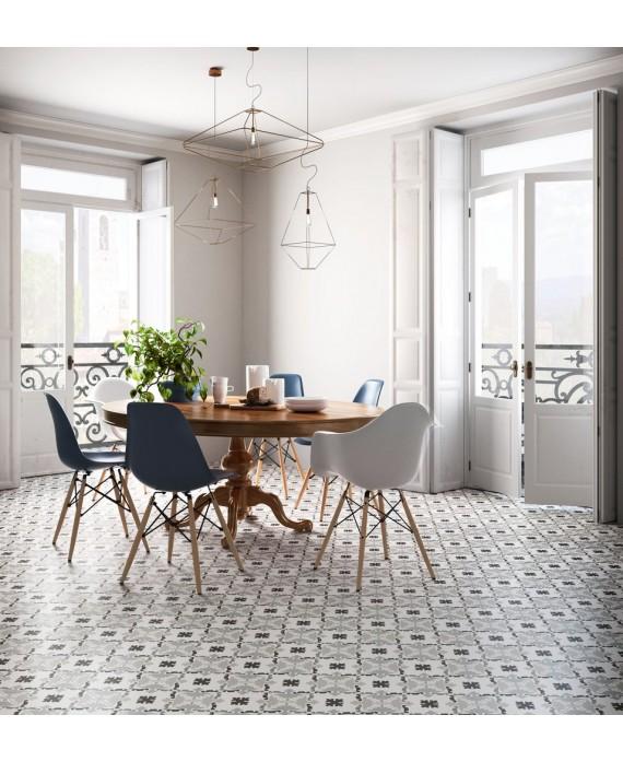 Carrelage patchwork 03 black and white imitation carreau ciment 20x20 cm rectifié dans la cuisine