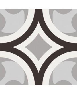 Carrelage patchwork 01 black and white imitation carreau ciment 20x20 cm rectifié R10