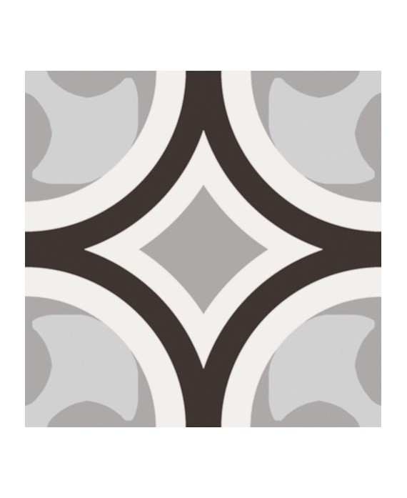 Carrelage patchwork 01 black and white imitation carreau ciment 20x20 cm rectifié