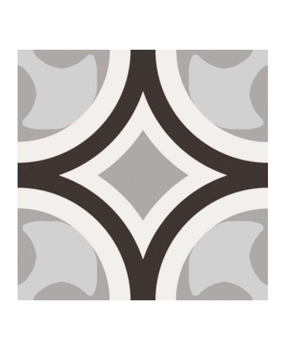 Carrelage patchwork 01 black and white imitation carreau ciment moderne 20x20 cm rectifié R10