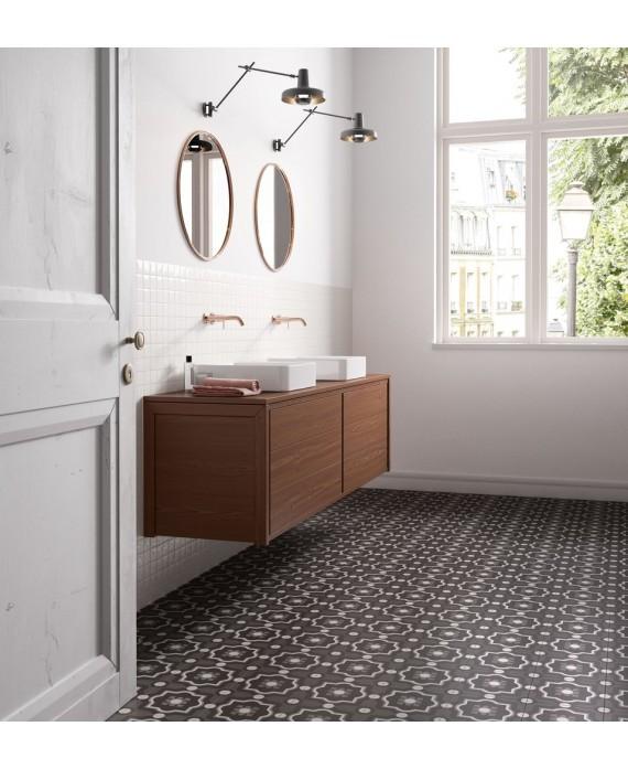 Carrelage salle de bain patchwork 04 black and white imitation carreau ciment 20x20 cm rectifié, R10