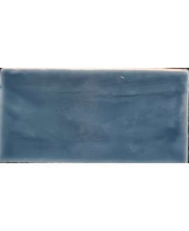 Carrelage imitation zellige DT handmade bleu brillant 7.5x15cm