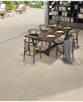 Carrelage imitation béton ou résine mat taupe clair, salle à manger, XXL 100x100cm rectifié, Porce1800 Arena