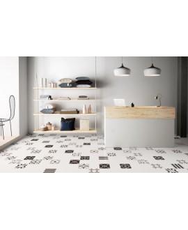 carrelage patchwork mix black and white effet carreau ciment 20x20 cm rectifié