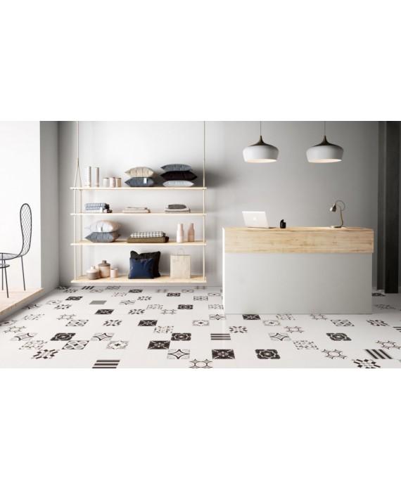 Carrelage patchwork mix black and white imitation carreau ciment 20x20 cm rectifié dans la cuisine