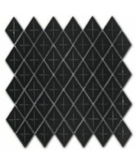 Mosaique losange gemme gris foncé brillant sur trame 28.3x28.3x0.5cm