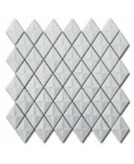 Mosaique losange D gemme blanc brillant sur trame 28.3x28.3x0.5cm