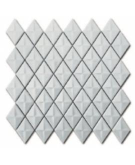 Mosaique losange gemme blanc brillant sur trame 28.3x28.3x0.5cm