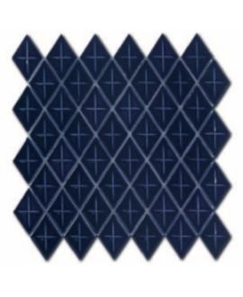 Mosaique losange gemme D bleu de sevres brillant sur trame 28.3x28.3x0.5cm