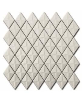Mosaique losange gemme D creme brillant sur trame 28.3x28.3x0.5cm