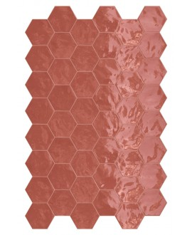 Faience hexagone terracherry brillant 17.3x15cm