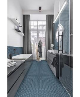 Mosaique hexagonale mini tomette bleu mer mat, salle de bain, en grès cérame 4.3x3.8cm sur trame 31.6x31.6cm terrocean