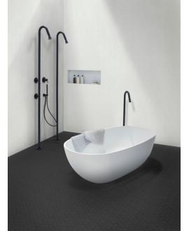 Mosaique hexagonale mur et sol noir mat salle de bain, cuisine en grès cérame 4.3x3.8cm sur trame 31.6x31.6cm terrablack