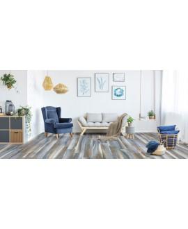 Carrelage salon, effet parquet bleu moderne mat, sol et mur, 20x120cm, savamazonia bleu