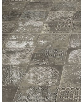 Carrelage imitation pierre décorée 33x33cm, realantigua graphite decor mat