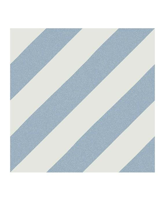 Carrelage imitation carreaux de ciment bande diagonal V Goroka bleu cielo 20x20 cm