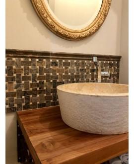 mosaique salle de bain D marbre diamantine 30x30x1cm
