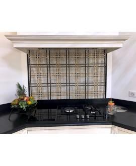 Mosaique salle de bain D marbre tartan blanc, noir et beige sur trame 30x30cm