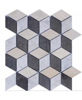 Mosaique D savana losange 4.3cm: thala beige, gris et foussana gris sur trame 27x24x1cm