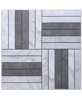 Mosaique D marco gris 14.8x2.3cm: thala gris et foussana gris sur trame 30x30x1cm