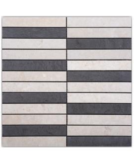 Mosaique D meran 14.8x2.3cm: thala beige et foussana gris sur trame 30x30x1cm