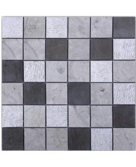 Mosaique D torino gris 5x5cm: thala gris, bouchardé et foussana gris sur trame 30x30x1cm