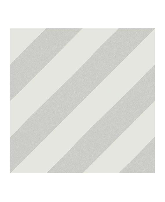 Carrelage imitation carreau de ciment bande diagonal V Goroka gris 20x20 cm