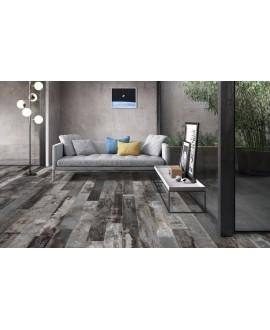 Carrelage imitation parquet peint usé dénuancé noir et gris , sol et mur, salon, 15x120cm rectifié, santacolor carbon