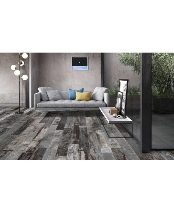 Carrelage imitation parquet contemporain 15x120cm rectifié, santacolor carbon